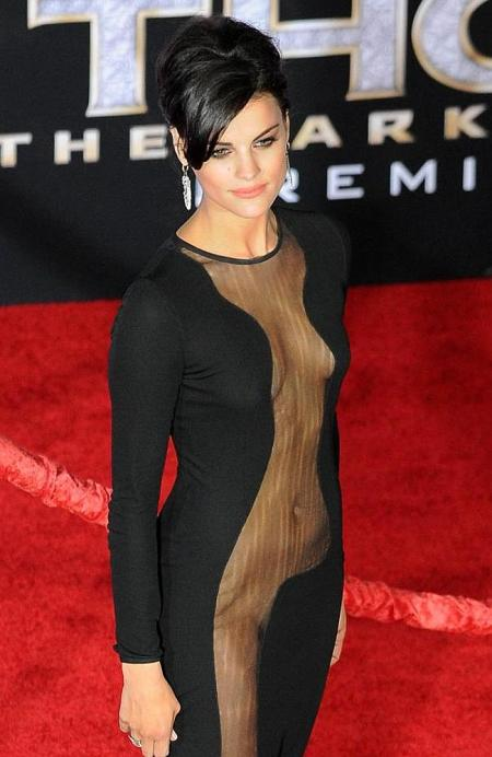 Oops! Jaimie Alexander goes for a risky see-through dress but shows slightly too much at the premiere of 'Thor: The Dark World', LA