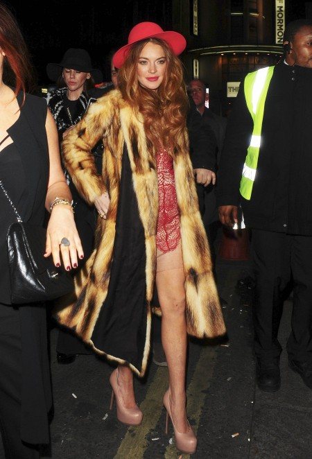 Lindsay Lohan Enjoys A Night Out In London
