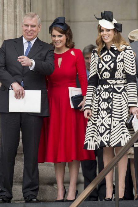LONDON, ENGLAND - JUNE 10: Prince Andrew, Duke of York with Princess Beatrice and Princess Eugenie attend a National Service of Thanksgiving as part of the 90th birthday celebrations for The Queen at St Paul's Cathedral on June 10, 2016 in London, England. (Photo by Mark Cuthbert/UK Press via Getty Images)