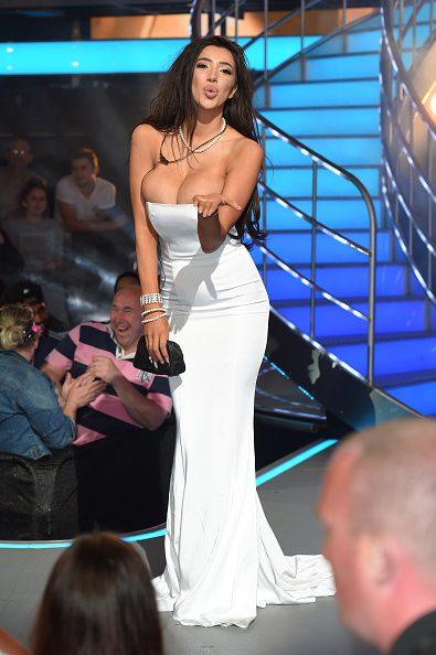 BOREHAMWOOD, ENGLAND - AUGUST 12: Chloe Khan is the third housemate evicted from Celebrity Big Brother 2016 at Elstree Studios on August 12, 2016 in Borehamwood, England. (Photo by Karwai Tang/WireImage)